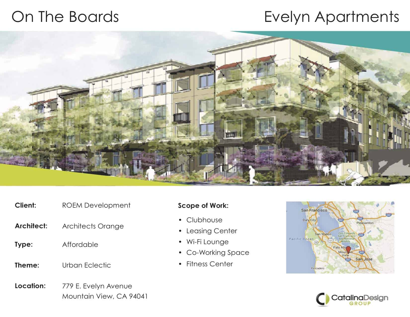 Evelyn Apartments ROEM Development Mountain View, CA, Commercial Interior Design Projects